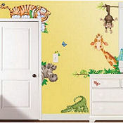 Large vinyl jungle baby nursery wall stickers and decals giraffes monkeys zebra tigers and alligators
