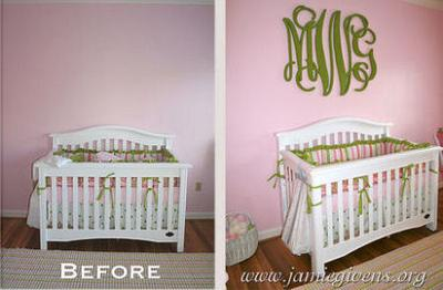 Beautifully designed large wooden wall letters in a baby girl's nursery designed by Murals & Things by Jamie