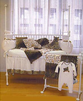 leopard print nursery theme crib bedding set