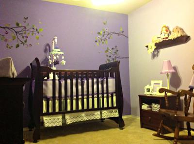 Lilac Meadows Nursery Decorated with Chevron and Yellow Accents for a Baby Girl