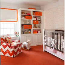 Modern baby girl nursery room decorated in pink orange and white