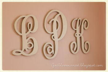 Elegant baby girl initials wall letters painted antique white with pink nursery wall paint color