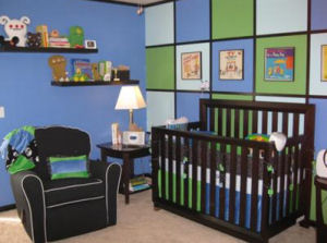 Royal sky blue lime green and black baby nursery bedding crib set modern contemporary custom