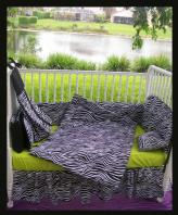 lime green black and white zebra print baby nursery crib bedding set