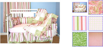lime green baby bedding nursery crib set paisley stripes polka dots