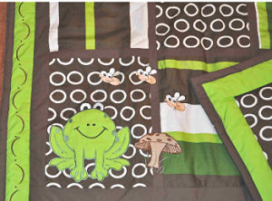 Lime green and brown frog pond with snails baby crib bedding for a frog theme nursery