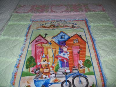 Little Miss Cutie Patootie Baby Girl Flannel Rag Quilt with Appliqued Hearts