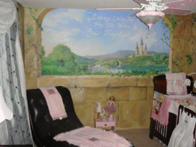Custom Baby Girl Princess Nursery Theme Painted Wall Mural