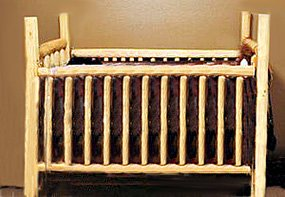 Homemade DIY rustic log reclaimed distressed barn wood baby crib plans