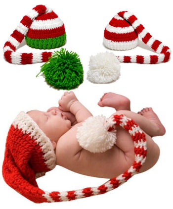 Long tail elf or Santa Claus Christmas crochet baby hats in red white and green yarn