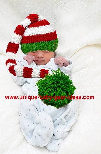 Long tail Christmas elf baby hat with a large pom pom crochet pattern