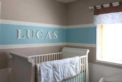 Soft and serene baby Blue brown and cream nursery room decor