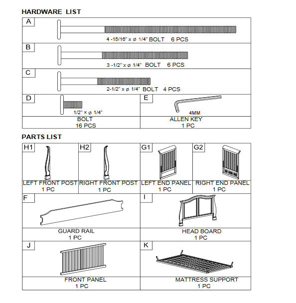 Jardine Madison 4 in 1 baby crib assembly instructions manual parts hardware diagram
