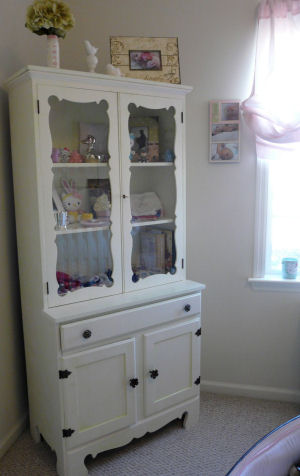 shabby chic nursery vintage hutch pink and green crackle finish