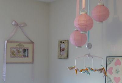 shabby chic nursery chinese lantern dragonfly baby crib mobile ribbon