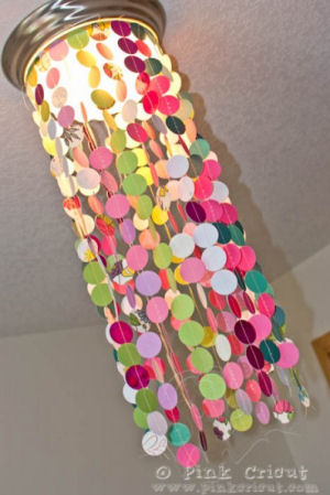 Multi-color DIY homemade capiz shell baby nursery chandelier with instructions