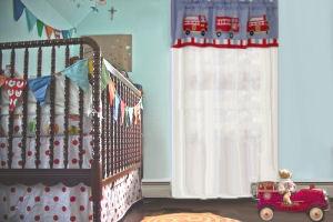 Baby boy red and white polka dot fire truck baby nursery crib bedding set and nursery window valance