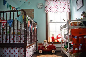 White and Red Polka Dots Fire Truck Fireman Theme Baby Nursery Theme