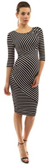 Black and white striped stripes short knee length wrap maternity dress with elbow length sleeves for the office