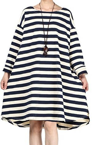 Casual short maternity dress with black and white stripes elbow length sleeves