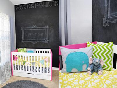 Baby Girl Modern Nursery Decorated with Gray Walls, Bright Yellow Teal Blue and Green and Chalkboard Walls