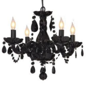 Elegant black crystal mini chandelier with beads and mini shades for a baby nursery room