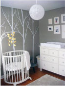 modern gray and white tree baby nursery wall mural