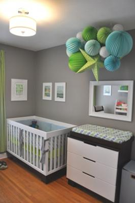 Modern Baby Boy Nursery Decor with Gray Walls and Lime Green, Light Blue and White Decorations