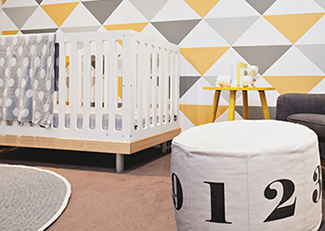Gray yellow and white gender neutral modern baby nursery room design decor