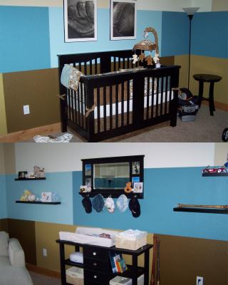 Modern Blue and Brown Baby Boy Baseball Nursery Wall Decorating Ideas Picture