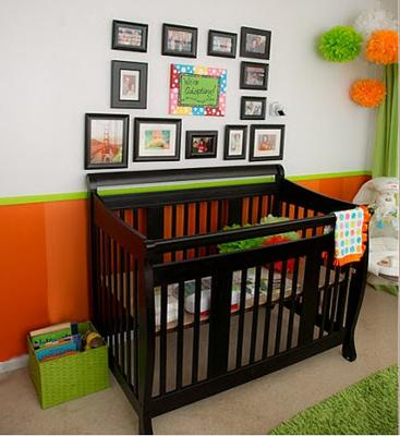 Black, Orange and Bright Lime Green Baby Nursery for a boy