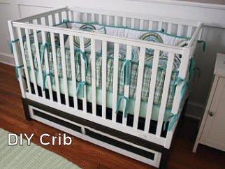 Modern, homemade wooden DIY baby crib