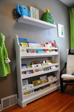 modern baby library colorful books display