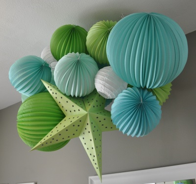 lime green aqua blue and white paper lantern baby boy nursery ceiling decoration mobile modern