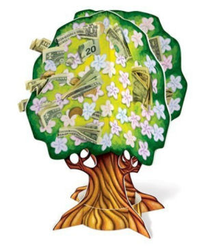 Cheap baby shower money tree that will hold dollar bills and gift card envelopes.