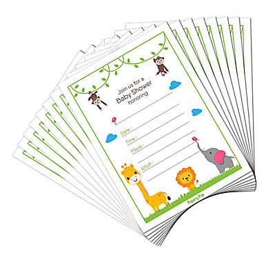 Monkey theme baby shower invitations for a boy or girl
