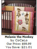pink brown baby girl monkey theme themed nursery bedding collection