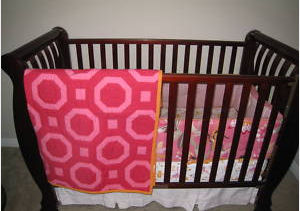 Pottery Barn Emmy Monkey Crib Bedding Set Baby Nursery Pictures in Hot Pink, Orange, Pastel Pink and White