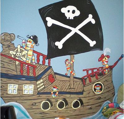 Sock monkey themed baby nursery theme wall mural painting in a pirate theme
