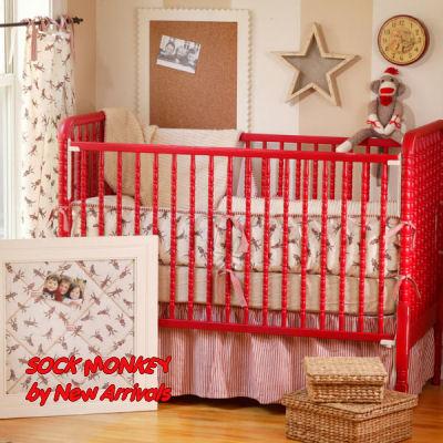 sock monkey baby bedding crib bedding theme nursery tab top curtains