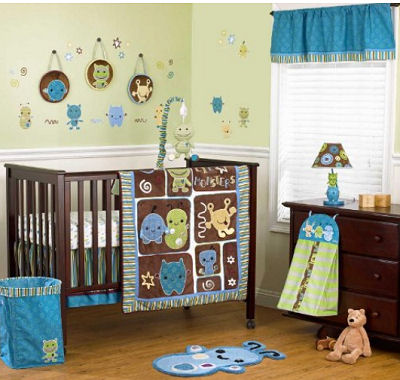 Monsters and aliens baby crib bedding set we chose for our baby's nursery room theme.