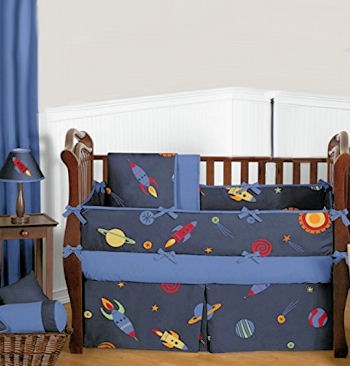 Ideas for decorating an aliens and monsters from outer space nursery room theme with baby crib bedding wall stickers and decorations