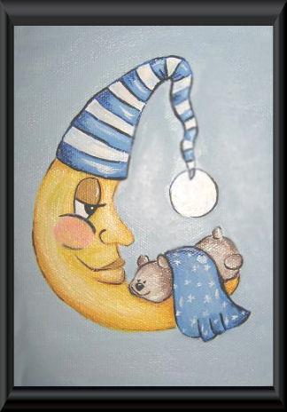 Hand painted custom moon baby nursery wall art
