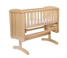Wooden Mothercare Deluxe Gliding Crib in Natural Wood Finish