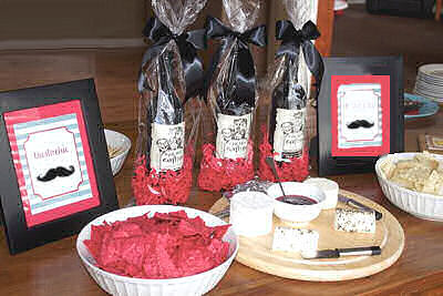 Mustache baby shower theme desserts and food table ideas