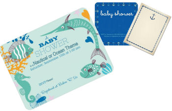 Nautical theme baby shower invitations cards with anchors and sailboats