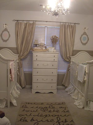 Elegant neutral boy and girl twins nursery design in beige, brown, tan and antique white