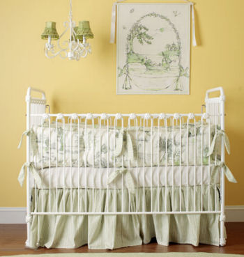 gender neutral baby bedding crib nursery pictures green yellow frog white cream toile