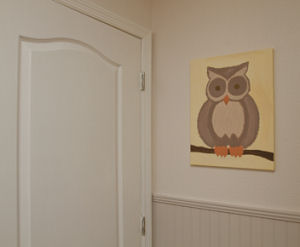 Wise old owl baby nursery wall art painting for a baby girl nursery decorated in neutral colors