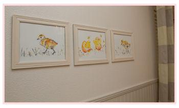 Baby ducks nursery wall art in a baby girl neutral nursery